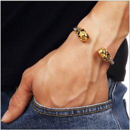 Gold twist banGle online shopping - Hot Sales Hip hop Charm Gold Skull Bangle Mens Adjusted Titanium Steel Fashion Nightclub Party Male Bracelets