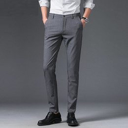 $enCountryForm.capitalKeyWord Canada - 2018 New Men's Business Casual Pants trousers Straight Pant Men Slim Fit Grey Black Big Size for Tall Men Good Quality Trouse