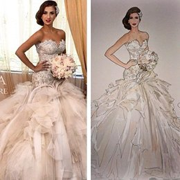 sweetheart wedding dress mermaid crystals 2019 - 2018 Modern Lace Mermaid Wedding Dresses Cathedral Train Sexy Sweetheart Bridal Gowns Backless Plus Size Arabic Brides D