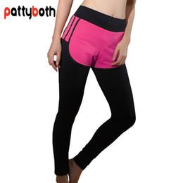 white nylon pants 2019 - Women Sport Leggings Fake Two Pieces High Waist Elastic Running Yoga Fitness Quick Dry Breathable Sports Pants Yoga Legg