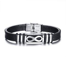 Infinity Charm Mens Braccialetti Genuine vera pelle Bangle per gli uomini in acciaio inossidabile nero accessori gioielli maschili in Offerta