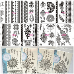 Necklace waist online shopping - Sexy Black Lace Temporary Tattoos Waterproof Tattoo Supplies Necklace Bracelet Flower Hand Jewelry Tattoo Sticker Paster