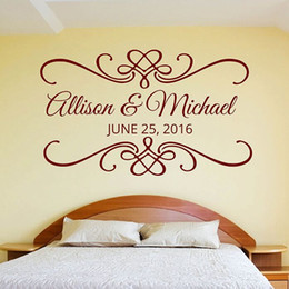 Names Stickers Australia - Vinyl Home Decal For Wedding or engagement Party Customized Name Wall Decal on lovers' Day Love Bedroom Decor Wall Sticker AY082
