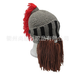 knitted helmet 2019 - Handmade Full Face Mask Winter Warm Originality Beanies Knit Beard Hat Ear Guard Hook Weave Cosplay Roman Helmet Shape 2