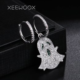 ghost earrings 2019 - Asymmetric Lovely Ghost Animal Zircon Crystal Statement Woman Drop Earring XEEWOOX Design Anniversary Gift Party Creativ