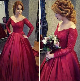 e115affc6fb Appliques Beaed Bridal Ball Gown Off Shoulder Floor Length Wedding Dress  Long Sleeve Bridal Dresses A-line Wine Red Wedding Ball Gown
