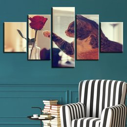 $enCountryForm.capitalKeyWord Australia - HD Prints Pictures Home Wall Art Posters 5 Pieces Cat And Red Rose Paintings On Canvas Modular Warm Living Room Decor Framework