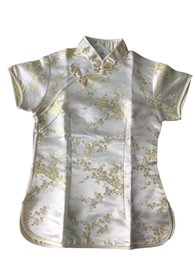 Shanghai Story Silk online shopping - Shanghai Story New Arrival fashion cheongsam top traditional Chinese Women s Silk Satin Top china floral print blouse Gold top A0024