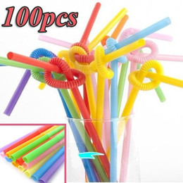 special straw NZ - 100pcs Multicolor Long Bendy Drinking Straws Home Bar Cocktail Drink Special Offer Top Fashion Beige Decor Decoration