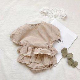 b0bd25b1bb1b ins Baby Girls Rompers Lace Layers tutu short Sleeve Jumpsuits For Kids  Infant Summer New Clothing Factory