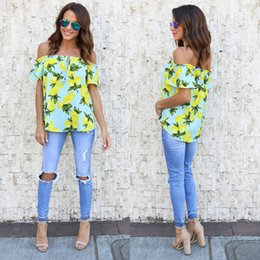 Off Shoulder Blouse Cotton Australia - 2019 Stylish Women Clothes Casual Off Shoulder Pullover Lemon Print Shirts Ladies Summer Short Sleeve Cotton Blouses