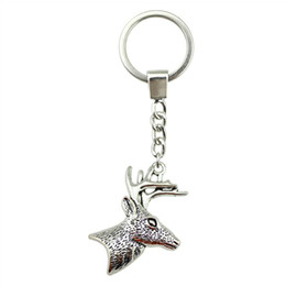 Rings deeR head online shopping - 6 Pieces Key Chain Women Key Rings Fashion Keychains For Men Deer Head With Antlers x43mm