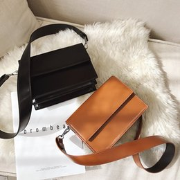 Discount new style side bags - New Fashion Street Shooting Solid Color Double-sided Flip Bag European American Style Casual Shoulder Crossbody Bags For