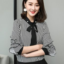 6585074d8d9 2018 Spring Fashion ladies big size stripe shirt bow collar beaded office ladies  shirt plus size female blouse tops XXXXL XXXXXL