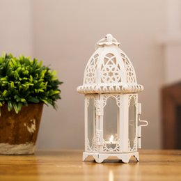 Gifts Candle Holder NZ - New Arrival White Black Morocco Iron Lantern Candle Holder For Wedding Favors Gift Home Decorations Supplies