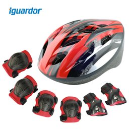 kids safety helmets 2019 - iguardor Bicycle Helmet Elbow Wrist Knee Pads and Helmet Sport Safety Protective Gear Guard for Kids Riding Set of 7pcs