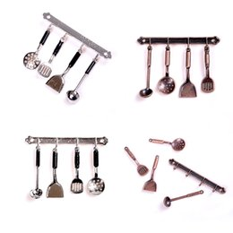 Wholesale 5pcs Kitchenware Doll House Miniature Classic Metal Tools Set Bronze Dollhouse Model Kitchen Supplies Toys Hobbies