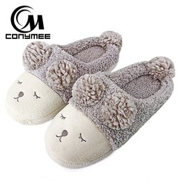 house animals UK - wholesale Winter Shoes Woman Fur Slippers Cute Animal Indoor Floor Shoes Women Home Slippers Soft Plush Warm Slipper House Shoes