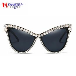 a4be12d4891 MONIQUE oversized Rhinestone sunglasses Sexy Women Designer Luxury Crystal  Sun glasses for Female black uv400