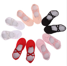 Baby Girl Summer Canvas Shoes Australia - Girls canvas ballet slippers baby girls cross bind soft ballet danceing pageant shoes kids non-slip gym fitness practise shoes F2344