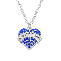 Wholesale maid love for sale - Group buy Rhinestone Hearts Shape Maid Of Honor Mother Of The Bride Pendants Wedding Necklace