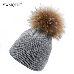 Autumn   Winter New Style Knied Women Hats   Real Raccoon Fur Ball Bright  Silk decoration Fashion Female Caps Free Shipping 355fbb8630e9