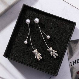 Bear Earrings Pendant NZ - New Lovely Full Rhinestone Bear Pendant Long Earrings For Women Fashion Accessories Simulated Pearl Tassel Earrings Oorbellen