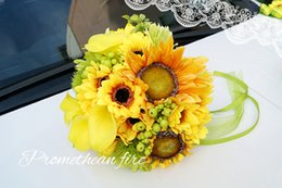 Eye Catching Wedding Bouquets Sunflowers 2017 New Arrival Bridal Flowers Accessories Free Shipping 2025cm Cheap Inexpensive Sunflower
