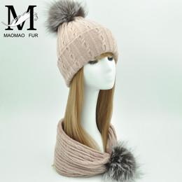 Fox Fur Scarfs NZ - Fur Pom Pom Hat and Scarf Women Winter Knitted Beanie Ladies Real Fox Fur Scarf Hat Set