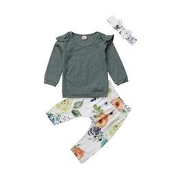 $enCountryForm.capitalKeyWord Australia - 2018 New Brand Cotton Print Newborn Baby Girl Outfits Floral Set Pullover Shirt Bodysuit Pants Leggings 0-24 M