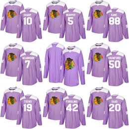 5011f3e15 2018 Fights Cancer Jersey 7 Brent Seabrook 31 Anton Forsberg 30 Jeff Glass  50 Corey Crawford Chicago Blackhawks Custom Hockey Jerseys