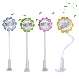 Travel Fan Canada - Fashion Portable Micro USB Fan With Bendable Clip Adjustable Sun Flower Shape Rechargeable Fans For Home Office Travel Q