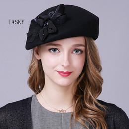 6f3a7374637b0 Women Pillbox Hat UK - Brand Australian Wool Women Beret Hat 2018 Pillbox  Bow Flower Fedora