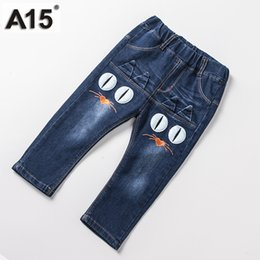 jeans for baby girls Canada - A15 Kids Pants Jeans 2017 Fashion Boys Jeans For Spring Fall Children Denim Trousers Baby Girl Blue Elastic Waist Designed Pants
