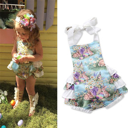 Discount baby jumpsuit bunny - Toddler Clothes Newborn Baby Girls Clothes Cartoon Bunny Ruffle Romper Easter Costume Jumpsuit Princess Kids Infant Girl