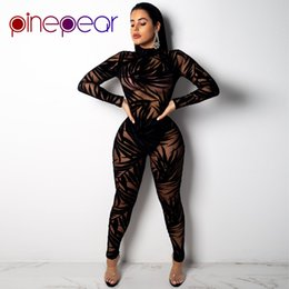Jumpsuit matching online shopping - PinePear Leaf Mesh Jumpsuit Trendy Women Long Sleeve Turtleneck See Through Sexy Club Piece Set Party Matching Outfits