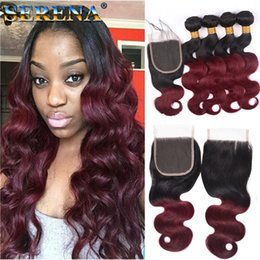 Discount two bundles remy virgin hair - Ombre Malaysian Body Wave Virgin Human Hair Extensions 2 Two Tone 1B 99J Burgundy Wine Red Malaysian Remy Human Hair Wea