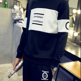letters stitch clothing 2019 - 2018 New Men Set Cotton Letter Pattern Slim Sweatshirt Set Stitching Color O-neck Casual Youth Coat Male Clothes Hot Sal