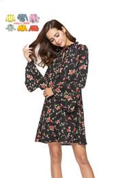 b9674d794c0 wuhaili8888 Flower Print Swing A Line Summer Dress Long Sleeve Spring  Multicolor Floral Calico Print Keyhole Back Bell Sleeve Dress