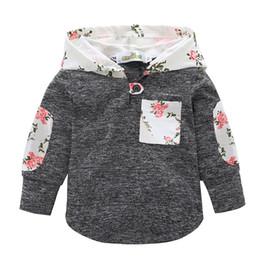 Niños ropa con capucha impresa botón de la flor rota bolsillo de la tela  escocesa capa del remiendo de manga larga coser floral deportes rojo  diseñador de ... a153a31d73a5b