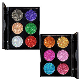 China In STOCK!!New Brand HANDAIYAN 6 Colors Glitter Eye Shadow Palette Metallic Shimmer Shiny Diamond Pigment Powder 2 Style DHL shipping suppliers