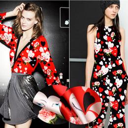 Red Fabrics NZ - 118CM Wide 19MM 93% Silk & 7% Spandex Cartoon Heart Shape Black Red Stretch Silk Satin Fabric for Summer Dress Clothes Cheongsam D951
