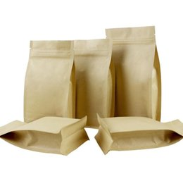 Kraft Jewelry Gift Boxes UK - 12*22+6 1000pcs stand up brown Ziplock kraft paper bags boxes recyclable for wedding Gift Jewelry Food Candy Package Paper Box SN1309