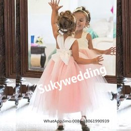 tea party dresses for kids UK - Princess Flower Girl Dresses Light Pink Puffy Tulle Kids Formal Gowns for Weddings Ankle Length Child Wedding Party Dresses