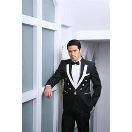 grooms smoking suit 2019 - A button black groom men wedding suit dress best man notched Lapel mens suits 2017 smoking masculino (coat + pants + BEL
