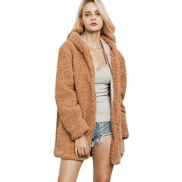 38f9ba203f3 Women Hooded Long Faux Fur Coat Winter Hairy Shaggy Thick Warm Jacket  Outerwear Casual Solid Female Overcoat Plus Size 3XL Pele