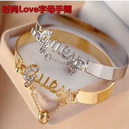 $enCountryForm.capitalKeyWord NZ - Fashion lady water drill bracelet hollowed-out letters love simple love open bracelet chain alloy ornaments