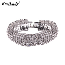 silver chains for sale cheap UK - Best lady Hot Sale Shiny Wedding Party Gift Statement Bracelets Bangles for Women Big Brand Cheap Wholesale Luxury Maxi Bracelet