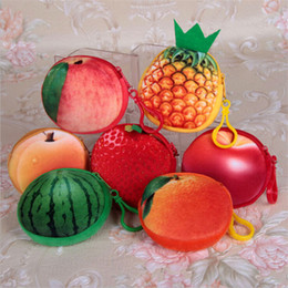 2c03cf36c Kawaii Fruit Shape 7 Fruits Plush Coin Purse Strawberry Orange Pineapple  Purse Kid Pocket Coin Pouch Gift Bag Pouch Wallet