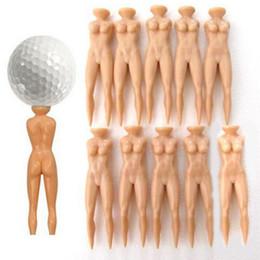 Gros Plastique Nouveauté Blague Nude Lady Golf Tee Pratique Formation Tees De Golf 10 Pcs / lot Livraison Gratuite